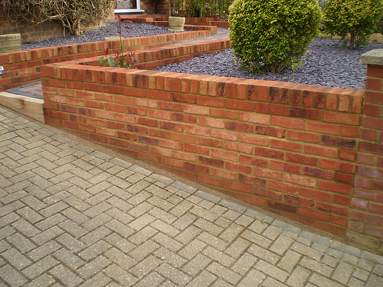 Brickwall along drive