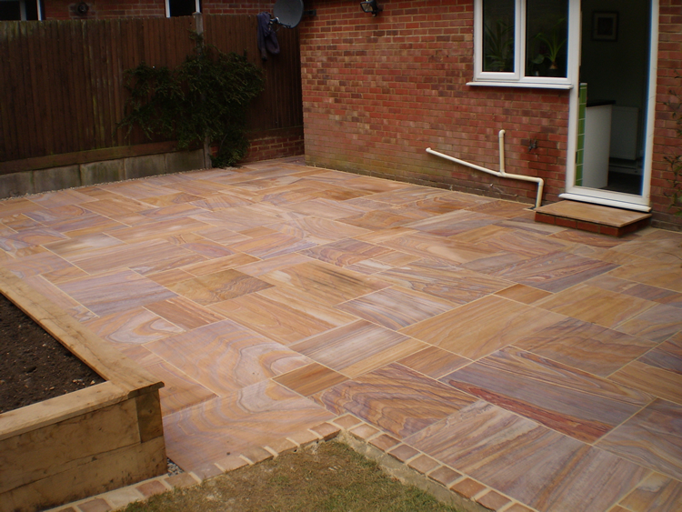 Raised Patio with Rainbow Paving