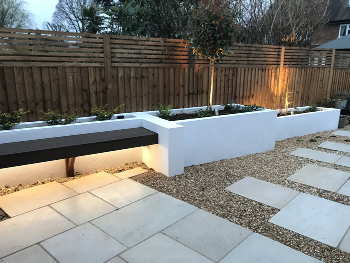 Lawn, Patio, Rendered Planters